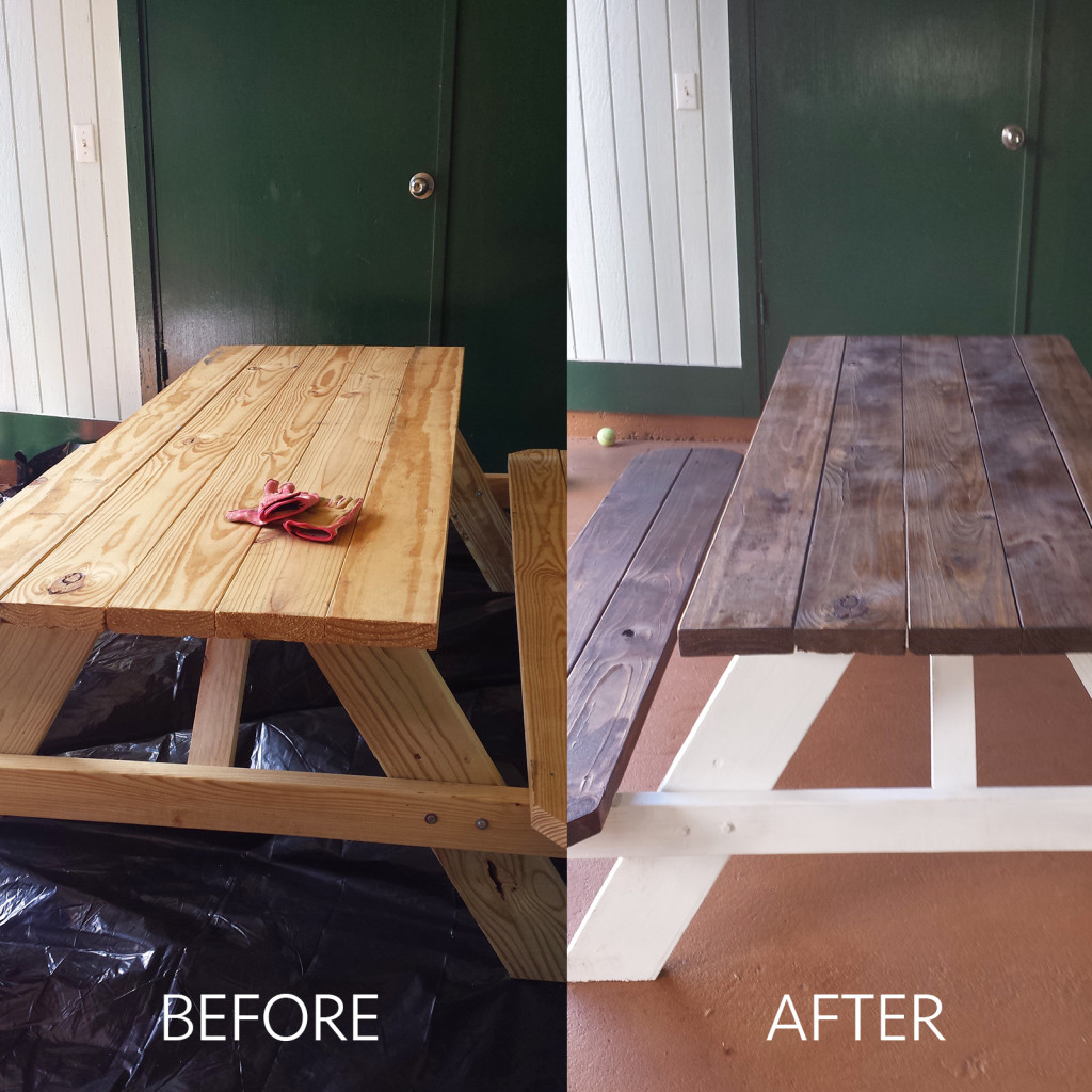 Picnic table DIY before and after