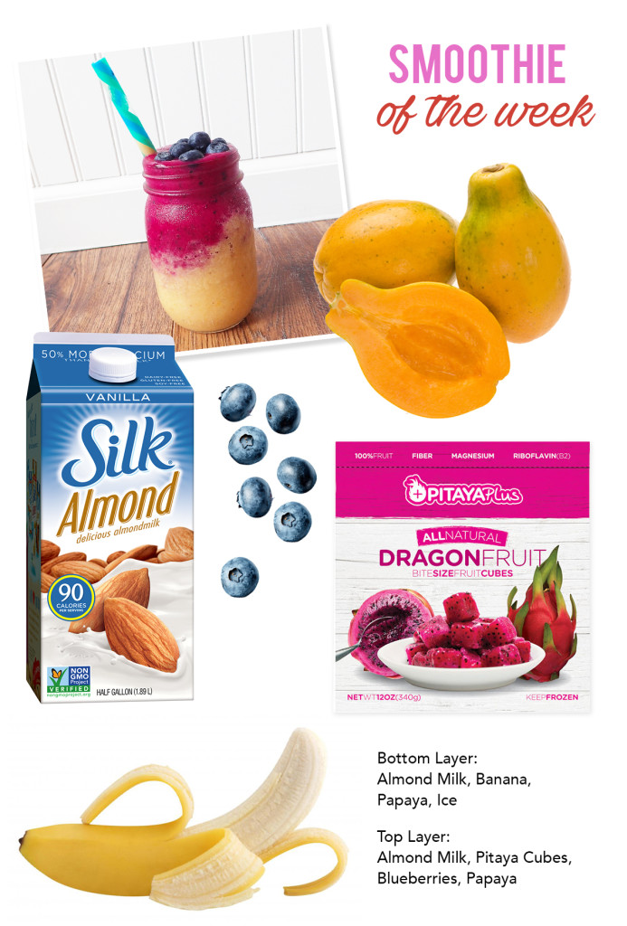 Papaya and Dragon Fruit Smoothie Ingredients