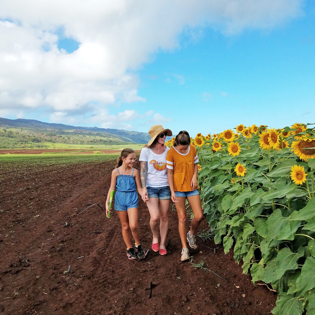 Sunflower mom and daughters