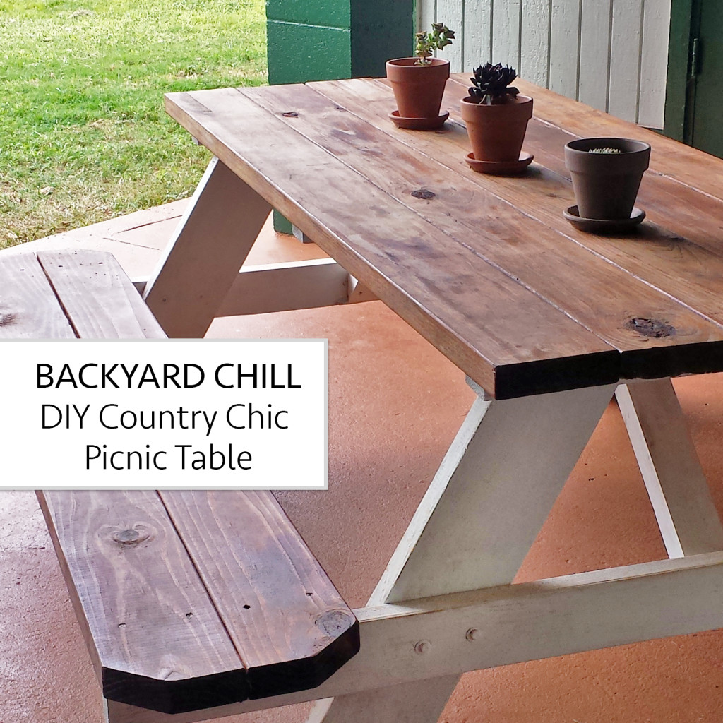 Backyard Chill DIY Country Chic Picnic Table Aloha Lovely - How to stain a picnic table