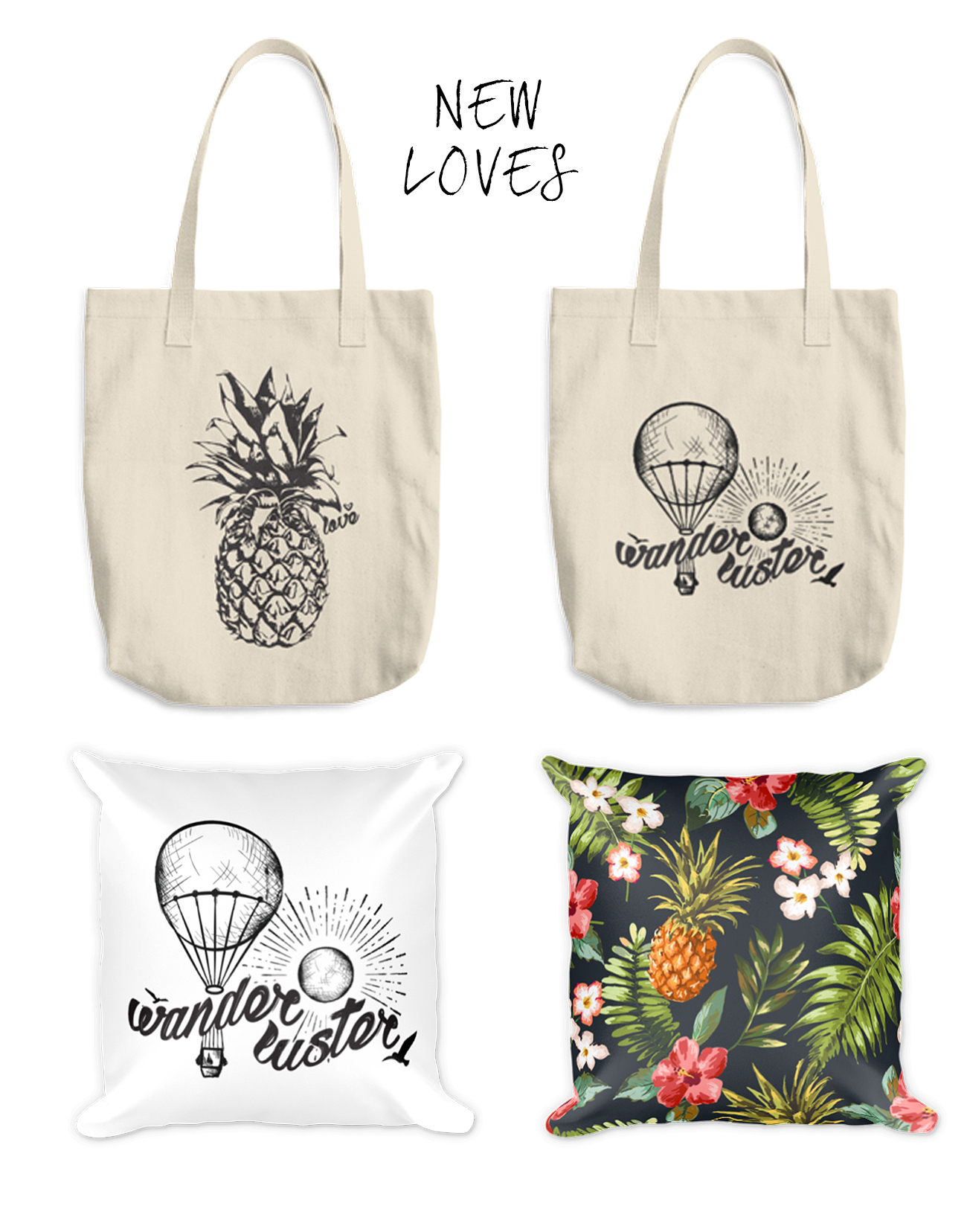 Shop Aloha Lovely Totes and Pillows
